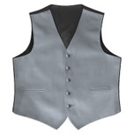 Satin Full Back Tuxedo Vest in Silver