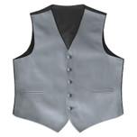 Satin Full Back Tuxedo Vest in Silver