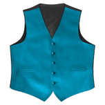 Satin Full Back Tuxedo Vest in Caribbean Blue