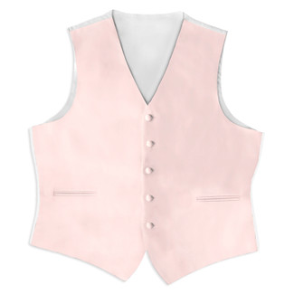 Satin Full Back Tuxedo Vest in Light Pink