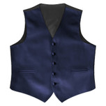 Satin Full Back Tuxedo Vest in Navy Blue