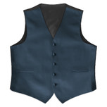 Satin Full Back Tuxedo Vest in Victorian Blue
