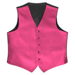 Satin Full Back Tuxedo Vest in Hot Pink