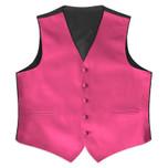 Satin Full Back Tuxedo Vest in Hot Pink