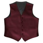 Satin Full Back Tuxedo Vest in Burgundy