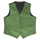 Satin Full Back Tuxedo Vest in Clover Green