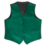 Satin Full Back Tuxedo Vest in Emerald Green