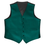 Satin Full Back Tuxedo Vest in Teal