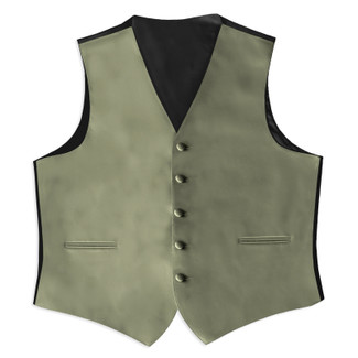 Satin Full Back Tuxedo Vest in Fino Celedon