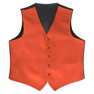 Satin Full Back Tuxedo Vest in Coral