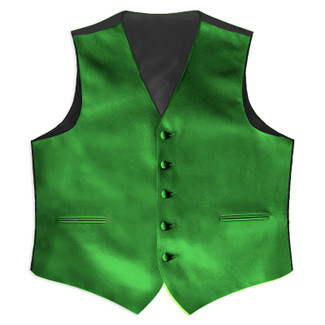 Satin Full Back Tuxedo Vest in Kelly Green