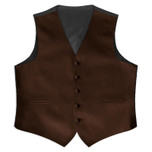 Satin Full Back Tuxedo Vest in Chocolate Brown