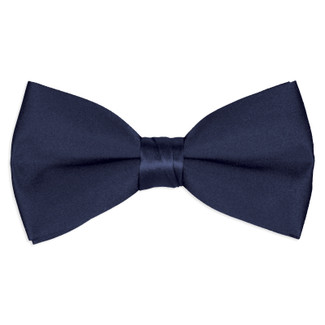 Satin Navy Blue Bowtie