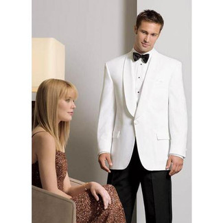 White Dinner Jacket in a Classic 1 Button Shawl Lapel