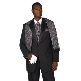 Mens Black 2 Button Tuxedo