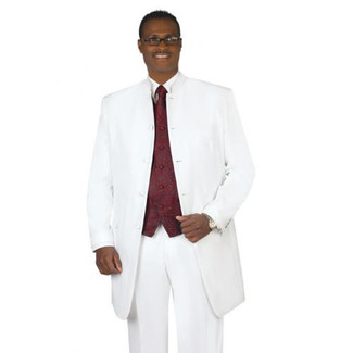 White 5 Button Mandarin Tuxedo