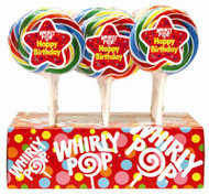 Whirly Lollipops 3 inch Happy Birthday 12 units 1.5oz