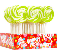 """3"""" Whirly Lollipops Bright Green & White 12 Count 1.5oz"""