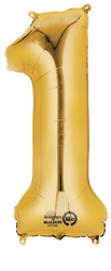 """Anagram Giant Foil Number """"1"""" Balloon/Gold 34"""" Tall"""