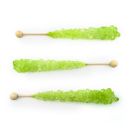 Light Green Rock  Candy on Sticks  Wrapped 12 count