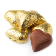 Wrapped Chocolate Hearts Gold 1.5 Pounds