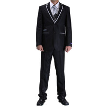 Figlio Lontano Slim Fit Suit - Black with White Trim