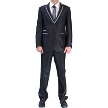 Figlio Lontano Slim Fit  Suit - Black with Gray Trim