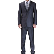 Figlio Lontano Slim Fit Suit - Charcoal with Black Trim