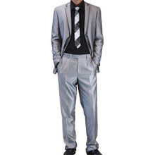 Figlio Lontano Slim Fit Suit - Silver with Gray Trim