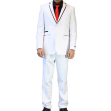 Figlio Lontano Slim Fit Suit - White with Black Trim