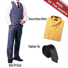 Dolce Vita 3 Piece Fashion Fit Suit + Shirt + Tie