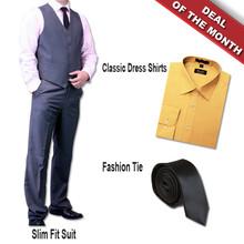 Dolce Vita 3 Piece Fashion Fit Suit + Shirt + Tie