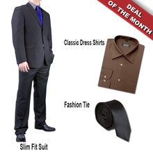 Dolce Vita Slim Fit Suit Flat Black + Shirt + Tie