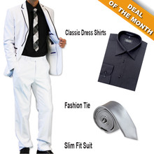 Figlio Lontano Slim Fit Suit - White-Black + Shirt + Tie