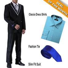 Figlio Lontano Slim Fit Suit Black-White + Shirt + Tie