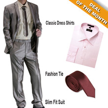 Figlio Lontano Slim-Fit Suit Light Brown + Shirt + Tie