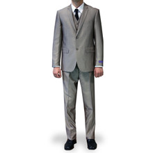 Figlio Lontano 3 Piece Slim Fit Suit - Light Brown