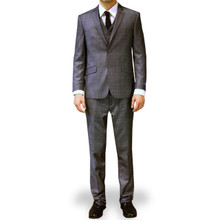 Figlio Lontano 3 Piece Slim Fit Windowpane Suit - Charcoal