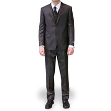 Figlio Lontano 3 Piece Slim Fit Suit - Dark Brown