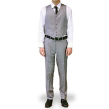 Figlio Lontano 3 Piece Slim Fit Windowpane Suit - Silver