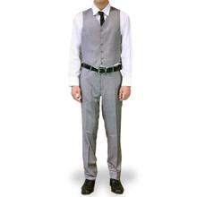 Figlio Lontano 3 Piece Slim Fit Windowpane Suit - Silver