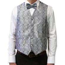 Amanti Men's 4pc Set Paisley Tuxedo Vest Silver