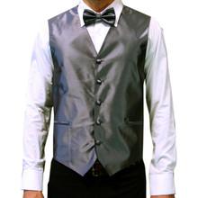 Amanti Men's 4pc Set Solid Tuxedo Vest Charcoal