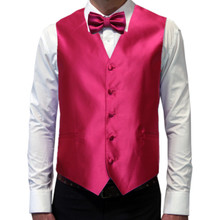 Amanti Men's 4pc Set Solid Tuxedo Vest Fushia