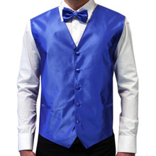 Amanti Men's 4pc Set Solid Tuxedo Vest Royal Blue