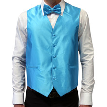 Amanti Men's 4pc Set Solid Tuxedo Vest Teal