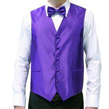 Amanti Men's 4pc Set Solid Tuxedo Vest Purple