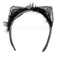 Black Faux Leather Cat Ears