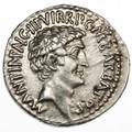 Mark Antony and Octavian Triumvirs AR Denarius, Lustrous Extremely Fine, Ephesus mint, SUPERB, spring - summer 41 B.C.E.  SOLD