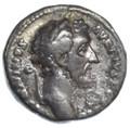 """Antoninus Pius AR Denarius, AVF, RARE """"Decennales"""" 147/148 C.E."""